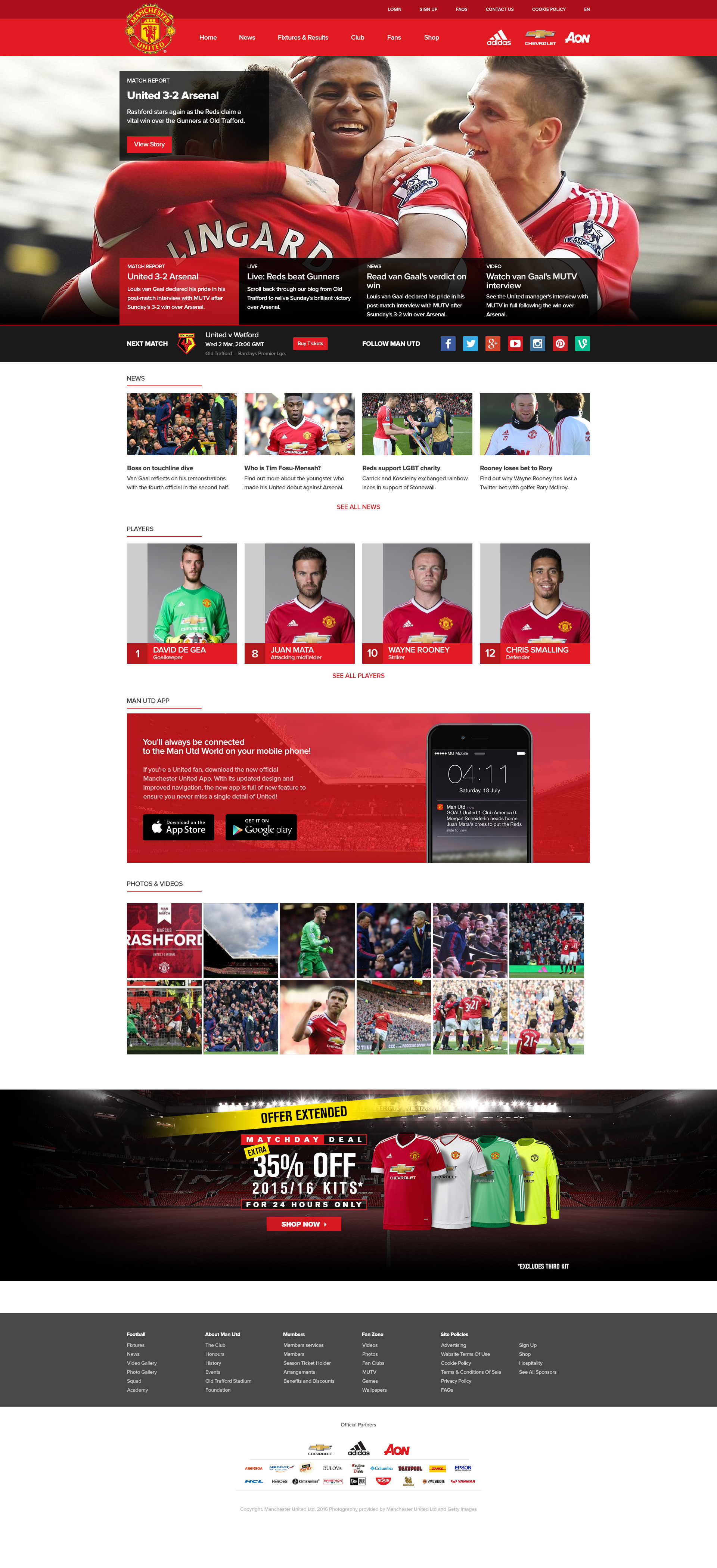 Makeover of Manchester United Website.